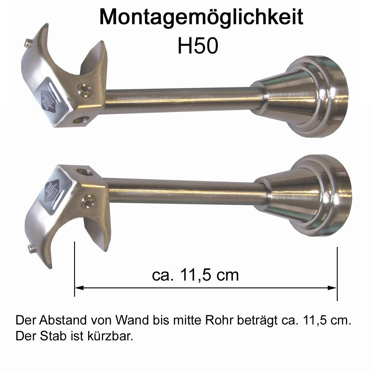 Relativ Träger für 20 mm Gardinenstange Edelstahl look o. Zubehör  XZ76