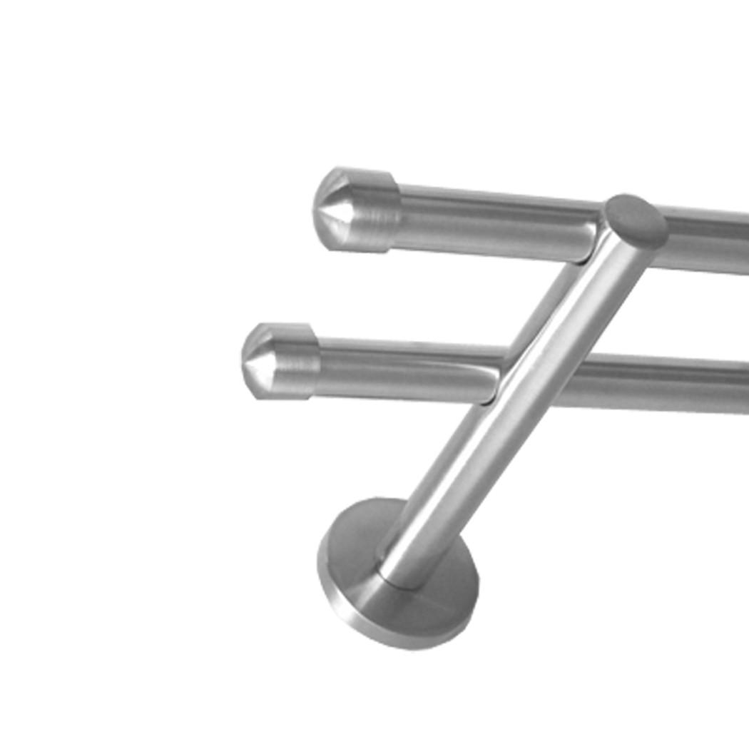 gardinenstange edelstahl look metall 16mm wand deckentr ger modern kappe e17 gardinenstangen 16. Black Bedroom Furniture Sets. Home Design Ideas