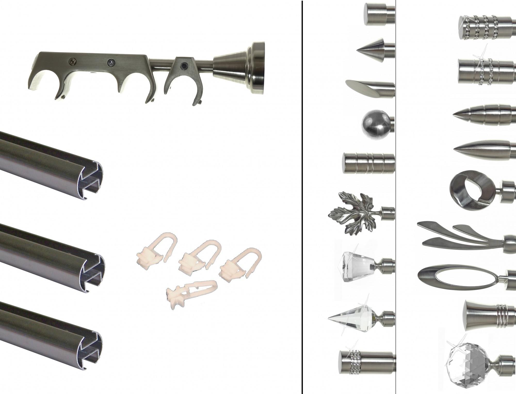 Trendig Innenlauf Edelstahl Look Gardinenstange dm 20mm 3 läufig H60II+  UL55